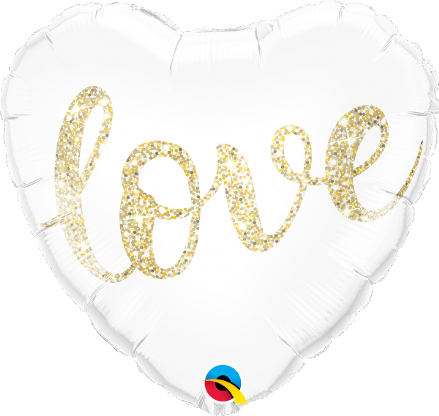 Gold Glitter 'love' Heart Foil Helium Balloon